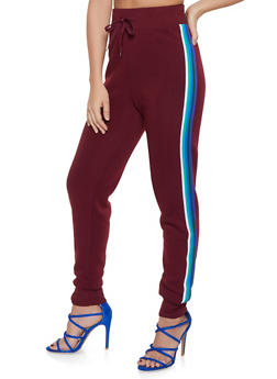 Striped Tape Trim Joggers - 3413072291149