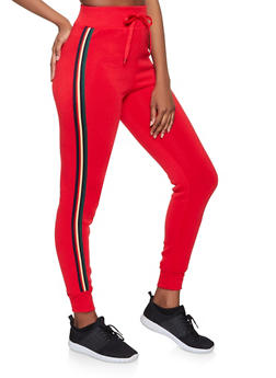 Striped Tape Trim Joggers - 3413072291150