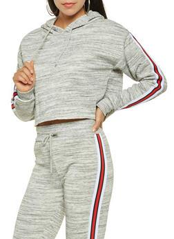 Cropped Striped Tape Detail Sweatshirt - 3413072291278