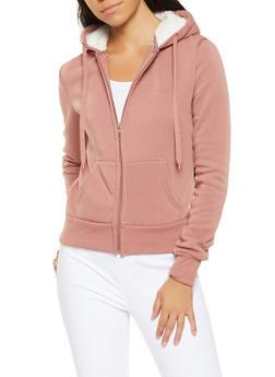 Sherpa Lined Hood Zip Up Sweatshirt - 3413072291760