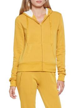 Fleece Lined Zip Up Sweatshirt - 3413072291761
