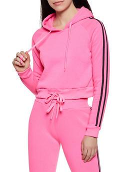 Varsity Striped Fleece Lined Sweatshirt - 3413072291966