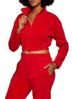 Fleece Lined Contrast Trim Cropped Sweatshirt - 3413072291990