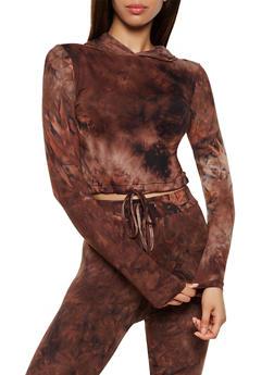 Drawstring Hem Hooded Tie Dye Top - 3413072292074