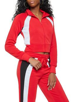 Contrast Trim Zip Front Sweatshirt - 3413072292110