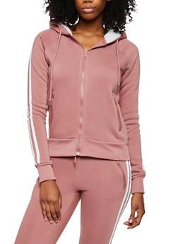 Varsity Stripe Sherpa Hooded Sweatshirt - 3413072292299
