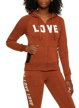 Zip Up Love Hooded Sweatshirt - 3413072292921