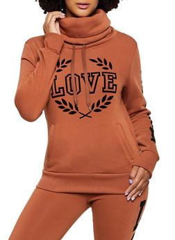Love Velvet Graphic Funnel Neck Sweatshirt - 3413072292965