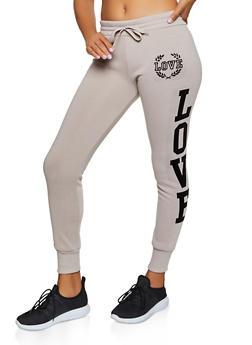 Love Velvet Graphic Fleece Lined Joggers - 3413072292966