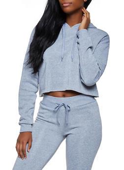 Hooded Raw Hem Sweatshirt - 3413072292999