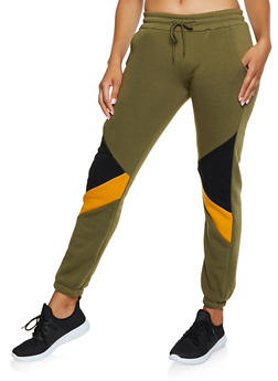 Color Block Detail Joggers - 3413072293022