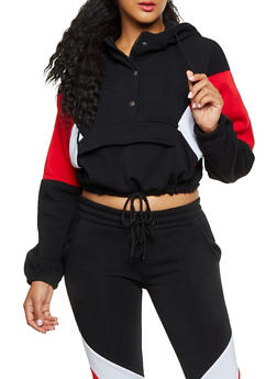 Color Block Detail Pull Over Sweatshirt - 3413072293033