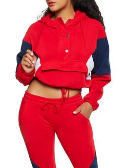 Color Block Detail Pull Over Sweatshirt - 3413072293033