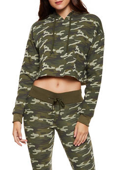 Camo Cropped Hooded Sweatshirt - 3413072293044