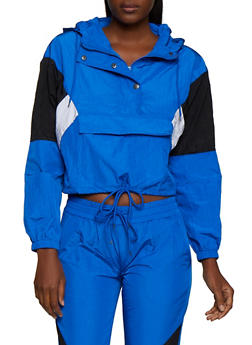 Color Block Half Zip Nylon Windbreaker - 3413072294050