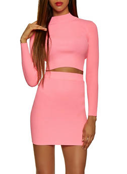 Rib Knit Mock Neck Top and Pencil Skirt Set - 3413072294141