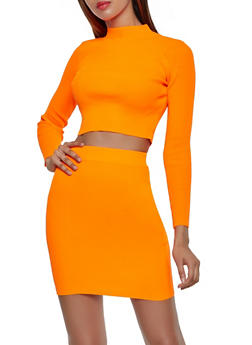 Rib Knit Mock Neck Top and Pencil Skirt Set - 3413072294141