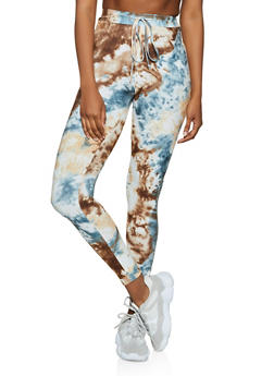 Drawstring Waist Tie Dye Leggings - 3413072294731