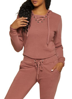 Lace Up Split Zip Hood Sweatshirt - 3413072295555