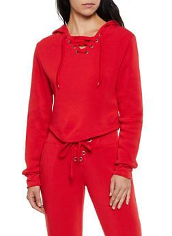 Lace Up Split Zip Hood Sweatshirt - 3413072295555