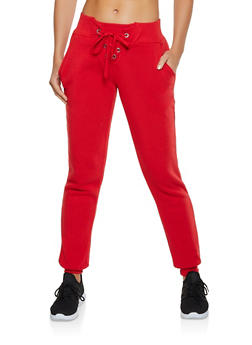 Lace Up Fleece Lined Joggers - 3413072295556