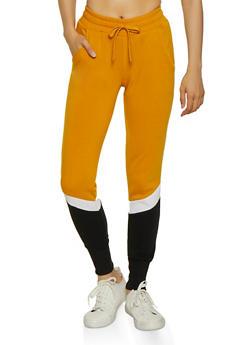 Fleece Lined Color Block Sweatpants - 3413072295656