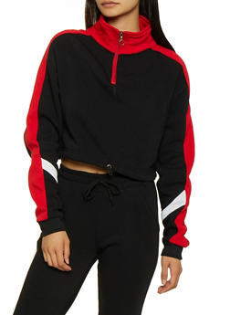 Fleece Lined Color Block Sweatshirt - 3413072295757