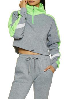 Fleece Lined Color Block Sweatshirt - 3413072295757