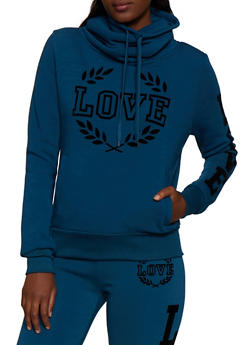 Love Velvet Graphic Cowl Neck Sweatshirt - 3413072299627