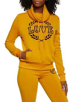 Love Velvet Graphic Cowl Neck Sweatshirt - 3413072299627