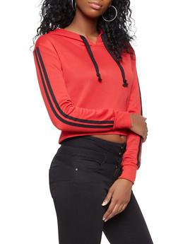 Cropped Varsity Stripe Sweatshirt - 3413074711014