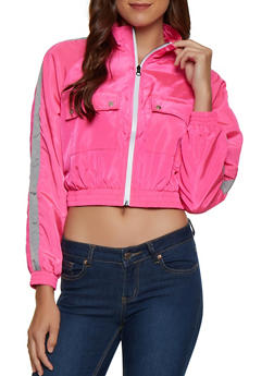 Zip Up Cropped Windbreaker - 3414038204024