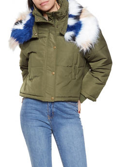 Multi Color Faux Fur Collar Puffer Jacket - OLIVE - 3414054210289