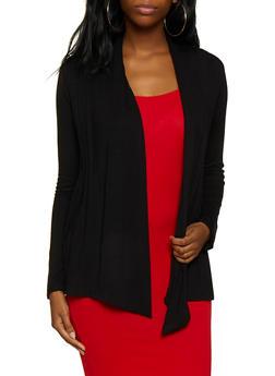 Long Sleeve Pleated Cardigan - 3414054212727