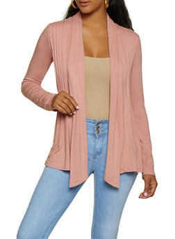 Long Sleeve Pleated Cardigan - 3414054212727