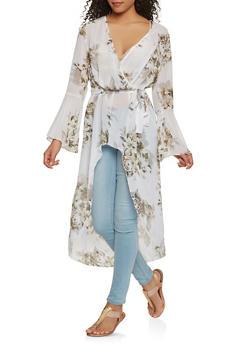 Floral Faux Wrap High Low Maxi Top - 3414056127598