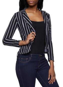 Textured Knit Striped Blazer - 3414062700315