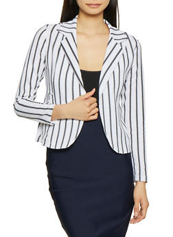 Textured Knit Striped Blazer - 3414062700315