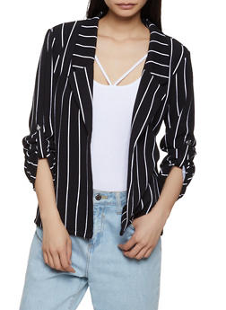 Tabbed Sleeve Striped Blazer - 3414062702741
