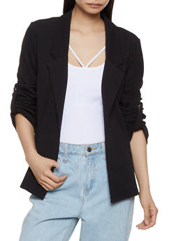 Crepe Knit Tabbed Sleeve Blazer - 3414062702743