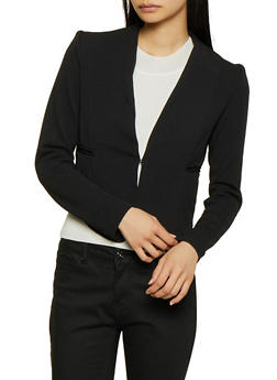 Cropped Textured Knit Blazer - 3414062702753