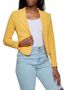 Cropped Textured Knit Blazer - 3414062702753