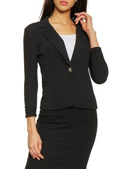 Ruched Sleeve Textured Knit Blazer - 3414062702754