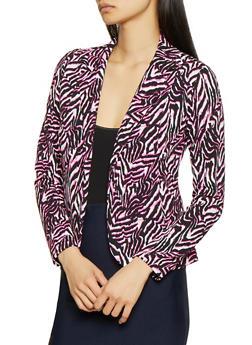 Animal Print Textured Knit Blazer - 3414062702769
