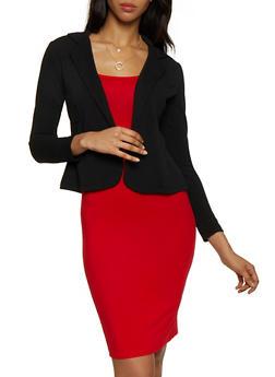 Open Front Textured Knit Blazer - 3414062703017