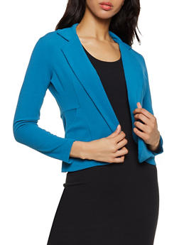 Open Front Textured Knit Blazer - 3414062703017