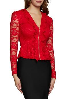 Sheer Sleeve Zip Front Peplum Jacket - 3414062703067