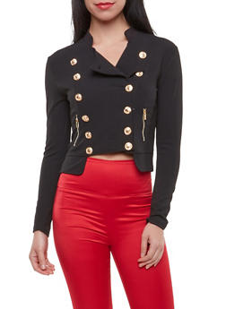 Solid Cropped Military Blazer - 3414062704034