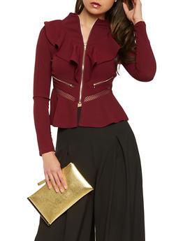 Ruffled Zip Front Blazer - 3414062704099