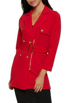 Textured Knit Trench Coat - 3414062706272